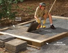 Pressure-treated lumber laid on a bed of gravel gives you a fast, easy foundation that will last for decades. Or lay joists on the wood foundation and fill the wood foundation with gravel and lay cement pavers. A paver floor allows water to drain through, so its perfect for a gardening shed and you can rinse the floor clean with a hose.