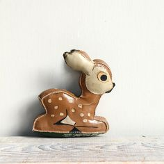 Vintage Leather Reindeer / Plush Vintage Christmas by ethanollie, $28.00