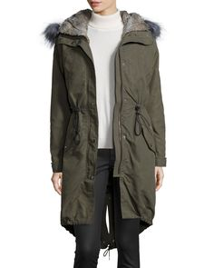 3-N-1 Parka W/ Removable Fur Liner, Olive (Green), Women's, Size: X-SMALL - Andrew Marc