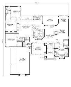 House Plans, Home Plans and floor plans from Ultimate Plans  LOVE THIS!!!! separated living areas - the master is huge!!!!!  and not an excessive amount of bathrooms!!!  Hubby would like the 3 car garage!!!