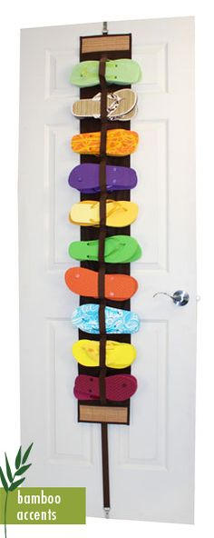 Great way to store flip-flops: Hang on the door during the summer, then roll them up and store away in one spot during the cold-weather months!