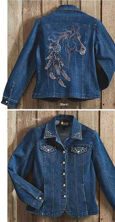 I want! Denim Jacket with Swarovski Crystal Horse and Feathers Design : Wild Wings