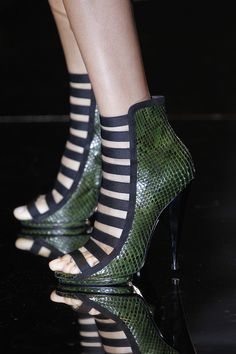 Gucci Olimpia Python Open-Toe Bootie