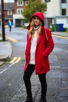 The classic rainwear look, with a modern feel. Red Raincoat, Irish Design, Rain Wear, Winter Jackets, Rain Jackets, Your Photos, Brave, Looks Great, Slim