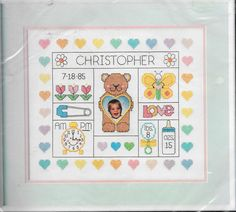Dimensions Happy Hearts Birth Record Stamped Cross Stitch Kit 3059 Nursery NEW #Dimensions #StampedCrossStitch