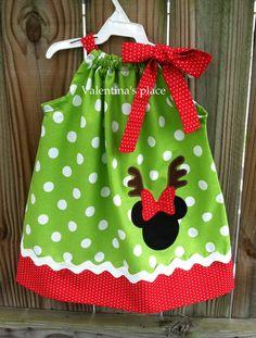 Christmas Reindeer Minnie Mouse pillowcase dress. $28.00, via Etsy.