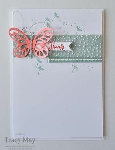 Thank You Card using Stampin' Up! Products Bold Butterfly Framelits Tracy May #GDP030 (Pin#1: Clean & Simple. Pin+: Butterflies SU).