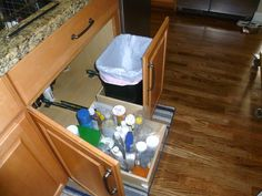 Opening the cabinet door and pulling out your Glide-Out trash bin just became one simple step with this ingenious solution. What will our ShelfGenie designers think up next?