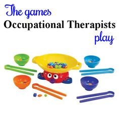 Wok and Roll - Adapting every day games and toys for use in therapy. See hundreds of ideas at The Playful Otter (OTR).
