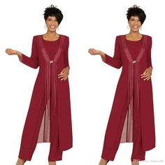 2019 Three Piece Crimson Mother Of The Bride Pant Suits With Jacket Chiffon Custom Made Long Sleeve Wedding Guest Dress Outfit Suit With Jacket, Mother Of The Bride Suits, Vestidos Plus Size, Mothers Dresses, Bride Dresses, Formal Dresses, Evening Dresses, Beaded Chiffon, White Chiffon