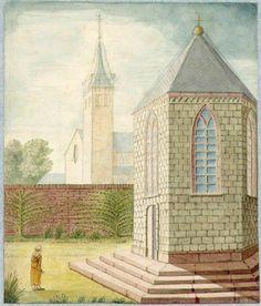 Tekening van M.L.M. d'Yvoy uit ca. 1840 naar een situatie uit de 16de eeuw (HUA). De Palmietentempel op de hoek met de Minrebroederstraat werd in 1544 overgedragen aan de Jeruzalembroederschap. Na de reformatie werd de tempel afgebroken.