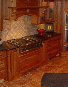 Tuscan Inspired Kitchen, Features Natural Cherry Glazed Cabinets, Dark  Brown Granite Countertops, Rust