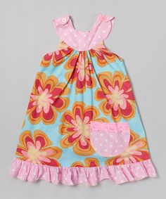 Another great find on #zulily! Pink Retro Floral Yoke Dress - Toddler & Girls by Beary Basics #zulilyfinds