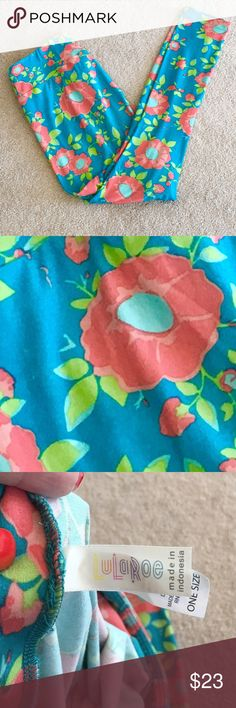 Lularoe Teal and Pink Floral Leggings - OS The ever popular Lularoe leggings in a bright fun Teal and pink floral pattern.  Buttery soft and wearable in a whole bunch of different casual situations!  Bought these to support a friend's new business venture, but I never really wear them and I'd love to pass them on to someone that is a tad more obsessed with these leggings than I am :). Worn once, EUC! I hand washed and laid flat to dry. Bundle and save big! No trades! Reasonable offers…