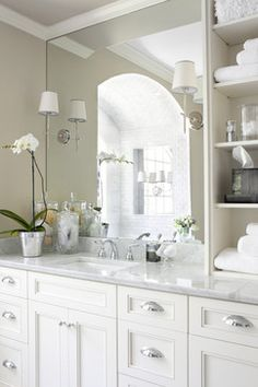 Decorating the Guest Bath  white vanity, gray marble