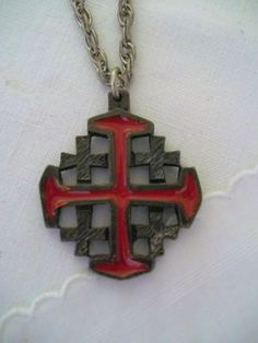Vintage Iron Cross on double link chain. These were popular back in the 70s. Metal large Red Cross surrounded by smaller black crosses. Spring closure.