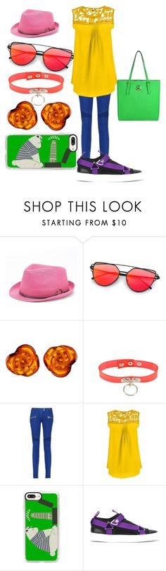"""""""Untitled #58"""" by black-butterfly-knife-29 on Polyvore featuring Peter Grimm, Be-Jewelled, Balmain, Casetify, Versace, MICHAEL Michael Kors and plus size clothing"""