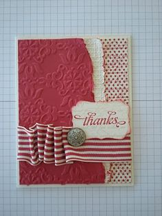 SU - The colors are very vanilla and riding hood red. I used the Love Letter DSP. I used Riding hood Red ink on my background stamp En Francais and stamped on the polka dot paper. I used two embossing folders - Square lattace (on the vanilla) and the Vintage Wallpaper embossing folder on the Ridinghood red paper.