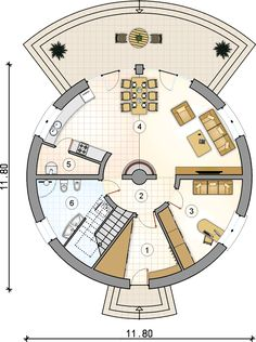 Monolithic Dome Homes, Geodesic Dome Homes, Round House Plans, House Floor Plans, Casa Octagonal, Yurt Home, Earth Bag Homes, Modern Small House Design, Thatched House
