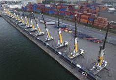 Aertssen deploys 14 Groves mobile cranes to lift a massive pipeline for an indsutrial plant project in Antwerp, Belgium. Crane Construction, Crane Lift, Plant Projects, Teamwork, Antwerp Belgium, Diesel, Diesel Fuel, Group Work
