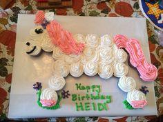 Girl birthday horse pull apart cupcake cake pink pony