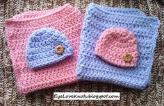"EyeLoveKnots: Crochet Mini Blanket 18"" x 18"" - Pink & Blue Twin Set - FREE Pattern"