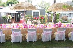 "Photo 3 of 25: hawaiian party / Birthday ""Orange & Pink Hawaiian birthday for a 9 year old.""   Catch My Party"
