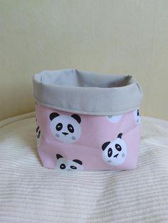 Corbeille tissu vide poche pandas tons rose pâle et gris