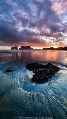 Sunset beach, New Zealand