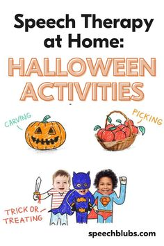 Halloween can be a perfect time to practice speech + language activities. Use the holidays for some fun activities for speech practice at home. Read on for 6 speech activities you can do with your child at home! Halloween Speech Therapy Activities, Speech Activities, Language Activities, Holiday Activities, Learning Through Play, Fun Learning, Learning Activities, Good Adjectives, Speech Delay