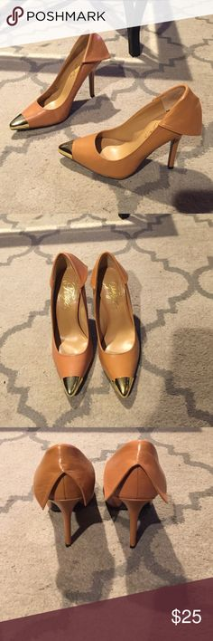 Tan Leather Stillettos w Gold Tipped Toe Never worn before Fergie Heels, Camel Colored Leather w/ Gold Tipped Toe and leather flap on back of shoe shown in pictures !! Size 7 m Fergie Shoes Heels