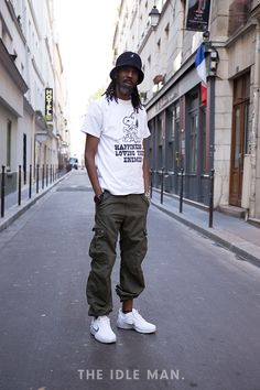 Men's Street Style | Cargo Cool - Cargo Pants create a really casual look, especially when teamed with a graphic tee and trainers. Wear with the legs slightly uneven for a seriously laid back look. | Shop the look at The Idle Man