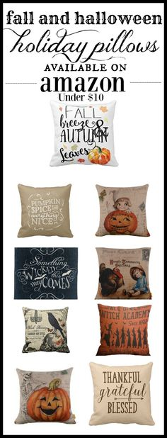 fall halloween pillows for under $10 on Amazon. Holiday pillows for Fall and Halloween