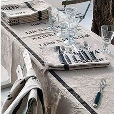 Cote Bastide Natural Linen Stamped Tablecloth