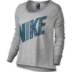 Women's Nike Prep Mixed Print Scoopneck Tee ($35) ❤ liked on Polyvore featuring tops, t-shirts, shirts, long sleeves, nike, sweaters, grey other, long sleeve t shirts, long-sleeve shirt and pattern t shirt