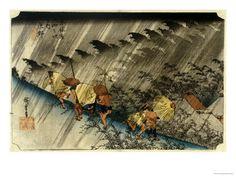 Driving Rain, Shono Giclee Print by Ando Hiroshige - AllPosters.co.uk