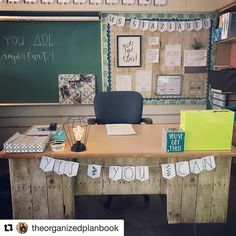 Anyone else get the itch this time of year to do some cleaning and revamping? It's like clockwork for me. 🤷🏻♀️🤦🏻♀️A big thanks to for this farmhouse inspired decor set! 👊🏻✌🏻 Loving the motivational swag I was able to add to my desk space. Classroom Desk, 4th Grade Classroom, Middle School Classroom, Science Classroom, Kindergarten Classroom, Classroom Themes, Classroom Organization, Classroom Setting, Future Classroom