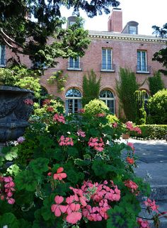 Corner view of Filoli - a country house in Woodside, California with 16 acres (6.5 ha) of beautiful formal gardens on a 654 acres (265 ha) estate.