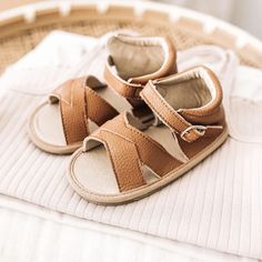 Brown Soft Sole Sandal Moccasin with Non-Slip Sole - Shop Portland, Oregon Little Love Bug Company genuine handmade leather & suede moccasins with rubber (infant/baby/toddler) Girl & boy. Variety of colors (t bar/oxford/boots/ankle booties/hightop/sneakers/Mary Janes/Sandals). First shoe sizes 2-10. Top Mom mocc choice! Doctor recommended soft sole. Neutral Sandals, Brown Sandals, Baby Moccasins, Leather Moccasins, Baby Sandals, Kids Sandals, Closed Toe Sandals, Baby Boy Shoes, Brown Girl