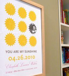 You are my Sunshine modern nursery wall art print poster baby photo custom - 8x10 on Etsy, $28.00