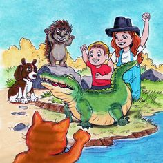"""Maggie & friends from Book 2: MaggieMooseTracks® Christmas Star """"Alfonso, the alligator works out!""""  ©"""