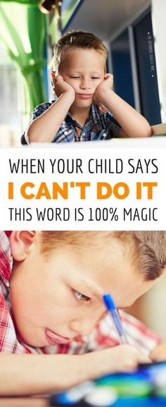 """What's the best parenting move when your kid gives up and says, """"I can't do it"""" or """"I'm dumb"""" or other negative self talk? Answering with positive affirmations doesn't work, but here's a simple ONE WORD response that will boost your child's confidence and"""