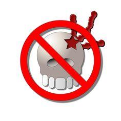 Elemento principal  de un cartel para rechazar el crimen y la violencia.