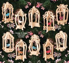 free scroll saw 3d ornaments | Slotted Bird Cage Ornament Set Patterns