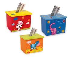 Small Foot Drevená pokladnička zvieratka 1ks Wooden Toy Boxes, Wooden Toys, Money Box, Toy Craft, Bunt, Storage Chest, Decorative Boxes, Shabby, Crafts