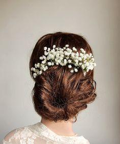 Wedding Hairstyles : Baby's Breath Hair Vine Rustic Head Piece Dried by NoviaBellaTS - ListFender Boho Bridal Hair, Bridal Hair Vine, Bridal Bun, Babys Breath Hair, Babies Breath, Babys Breath Boutonniere, Wedding Boutonniere, Bridesmaid Hair Half Up, Wedding Hair Pieces