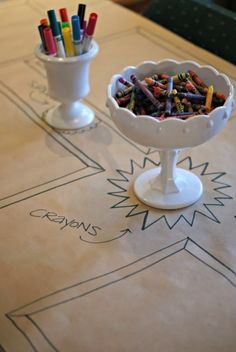 Kids table - put Legos and crayons in a nice dish.