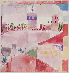 """Hammamet with Its Mosque,"" 1914, Paul Klee. Watercolor and pencil on paper; 8⅛ x 7⅝ in. (20.6 x 19.4 cm.) The Berggruen Klee Collection. Metropolitan Museum of Art, New York."
