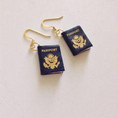 Passport Earrings Travel Earrings Passport Books by MaBelleViolet