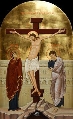 "IC.XC__Σταυρωση ""The Crucifix. "" _ΠΑΣΧΑ       ( Festival icon. 2013  by Olga Shalamova & Philip Davydov"